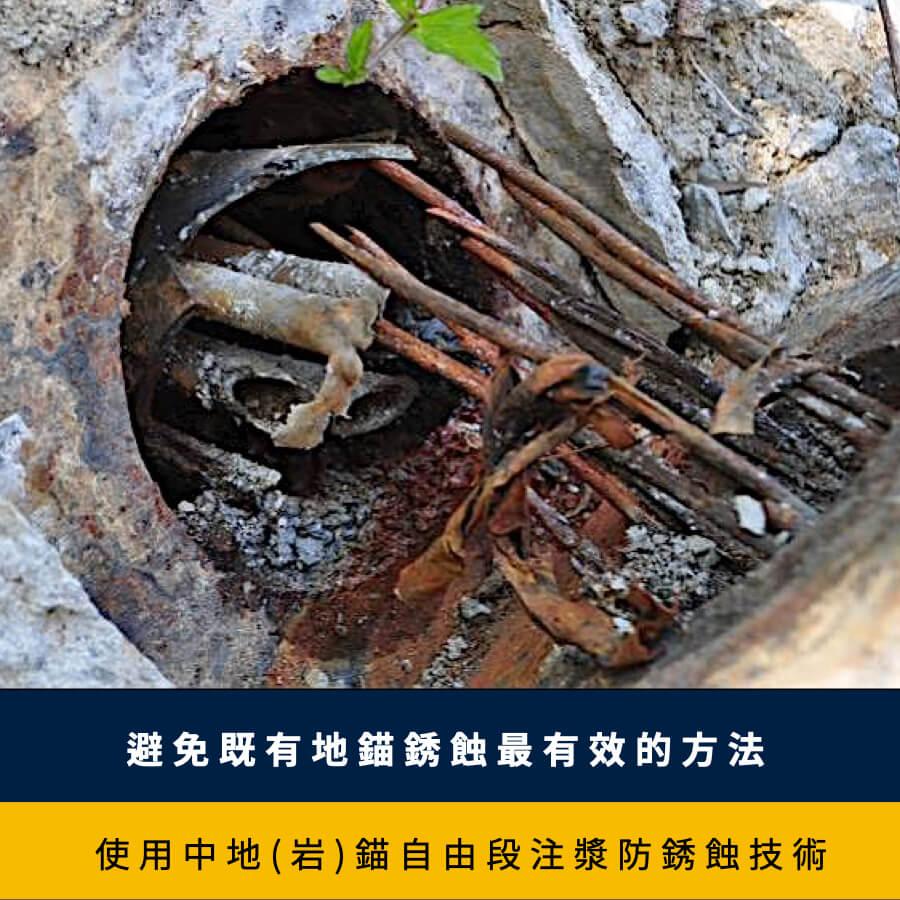使用中地(岩)錨自由段注漿防銹蝕技術