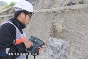 Then an electronic endoscope is inserted into the borehole to record the results of the grouting