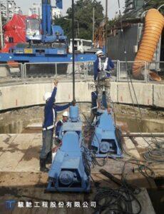採用豎井內湧水停止後,於開挖面底部進行水平注漿確保止水效果