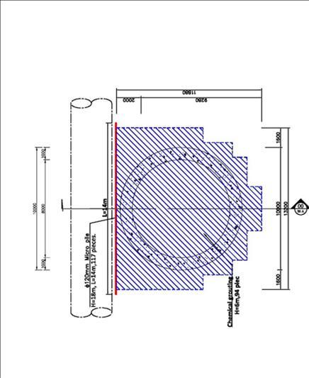 防護用微型樁採用直徑150mm;貫入深度18m的水泥砂漿樁體